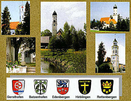 view of the churches of Gersthofen (upper left), Hirblingen (upper right), Edenbergen (lower left), Rettenbergen (lower right) and BATZENHOFEN (center)